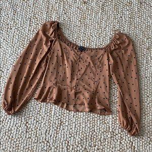 POLKA DOT Tan Blouse Size 16 NEW